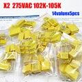 O envio gratuito de segurança x2 capacitor 1nf ~ 1 uf 275vac 102 k-105 k kit sortido 14valuesx5pcs = 70 pcs