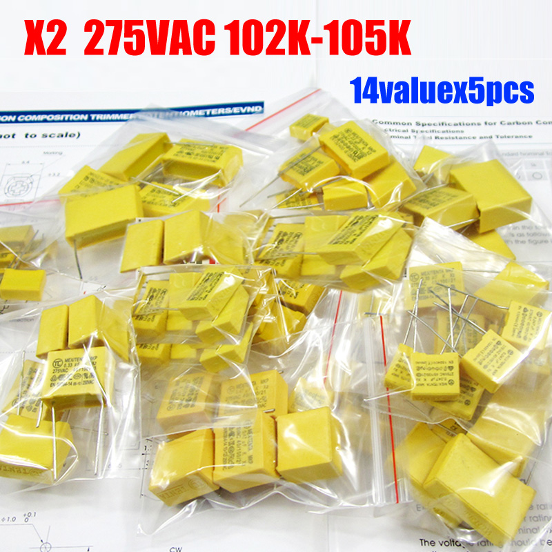 X2 Safety Capacitor 275VAC 102K 105K 1NF~1UF Assorted Kit 14valuesx5pcs=70pcs|x2 safety capacitor|safety capacitorcapacitor 275vac - AliExpress