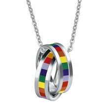 Lesbian Gay Pride Multi-Color Circles Charm Pendants Titanium