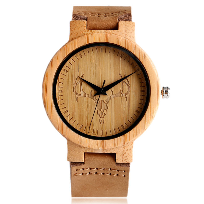 High Quality Handmade Wood 4 Creative Pattern Wrist Watch Real Leather Band Strap Casual Sport Style Watches Male Female Gift
