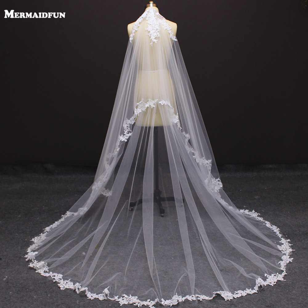 Ivory Wedding Veil Comb Lace Appliques White Long 2-Layers Real With Beautiful Photos