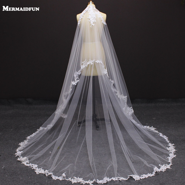 2017 Real Photos 2 Layers Lace Appliques White Ivory Wedding Veil With Comb Beautiful Long Bridal