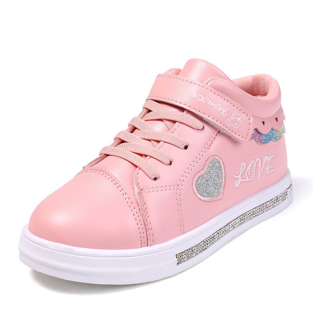 2019 Autumn Girl Toddler Slippers Casual Shoes White Heart Shape Infant Children Sneakers Shoes Breathable 5