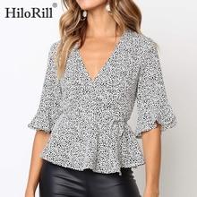 2020 Fashion Summer Blouse Women Casual Dot Print Short Sleeve Sexy Deep V-Neck Blouses Elegant Ruff