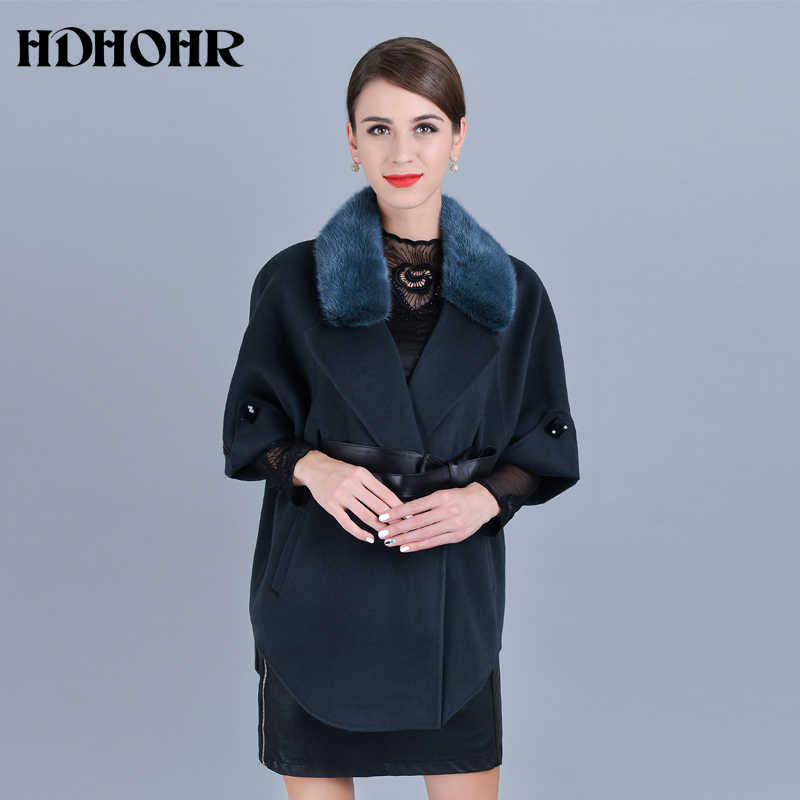 540e1dd4ffd7 ... HDHOHR 2018 Лидер продаж кашемировое пальто Для женщин зима воротник с  естественной реального норки Меховая куртка ...
