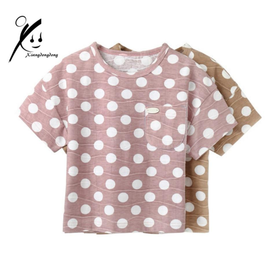 2017 New Style Boys T-Shirt Fashion Cotton Short Sleeve Kids Summer Tops Child Polka Dots Khaki/Pink Tees XDD-X8802