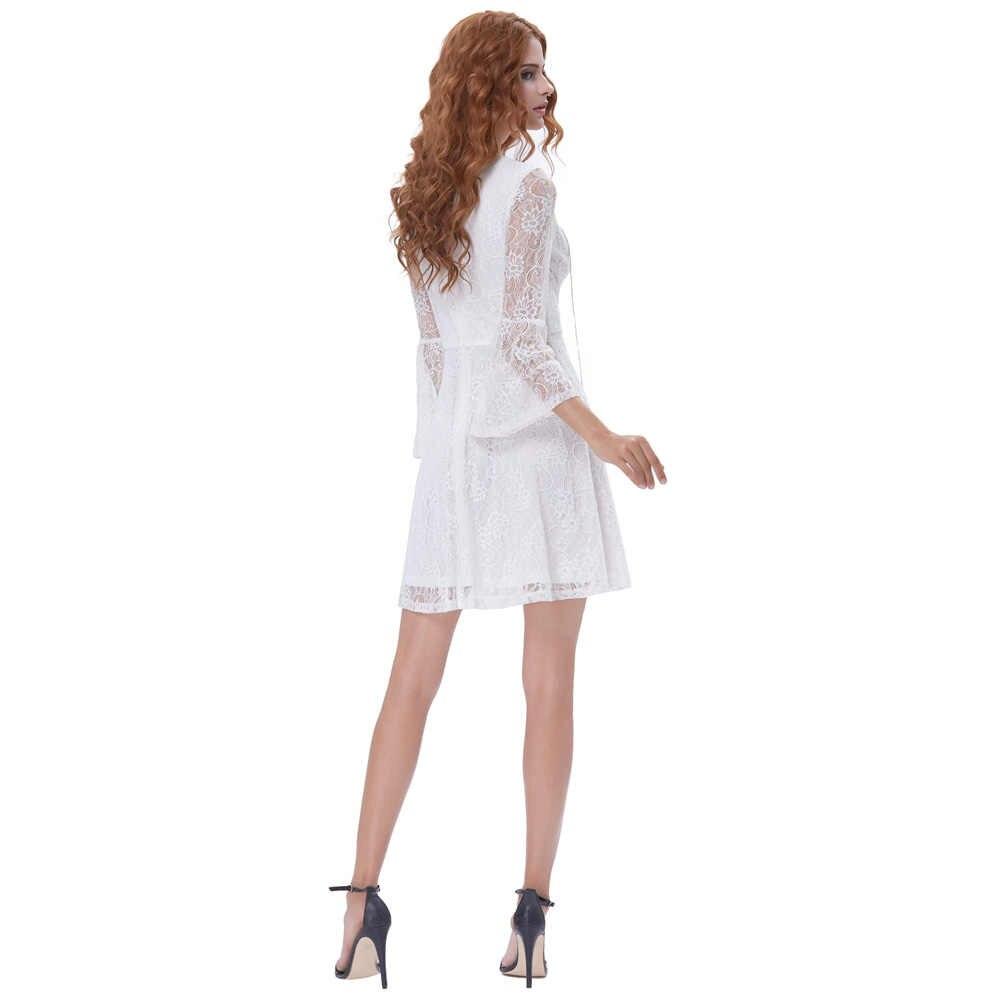 c768f5ad29ff ... Kate Kasin Bell Sleeves Short Evening Dress 2018 V Neck Lace Prom  Dresses Girls White Bride ...