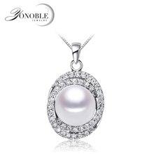 купить Wedding 925 silver pendant for women,anniversary gift white black real natural freshwater pearl pendant дешево