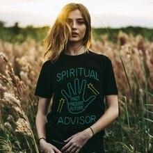 Spirituale Advisor Umorismo Nero Delle Donne Magliette Più Il Formato In  Cotone Graphic Magliette Harajuku Witchy 64f0bc1c1c3