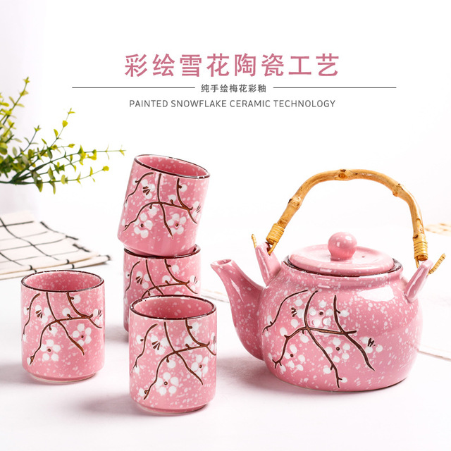 Cherry Blossom Teapots Handmade Tea Pot Water Kettle Afternoon Tea Kettle Ceramic Japanese Teaset with 4