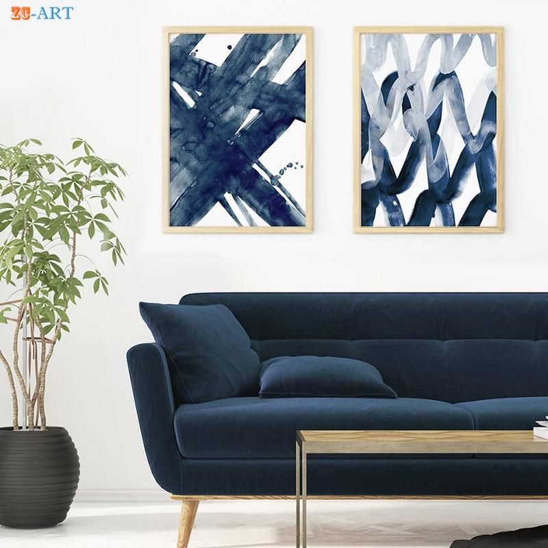 Blue Deer Art Print Contemporary Abstract Watercolor Wall Decor