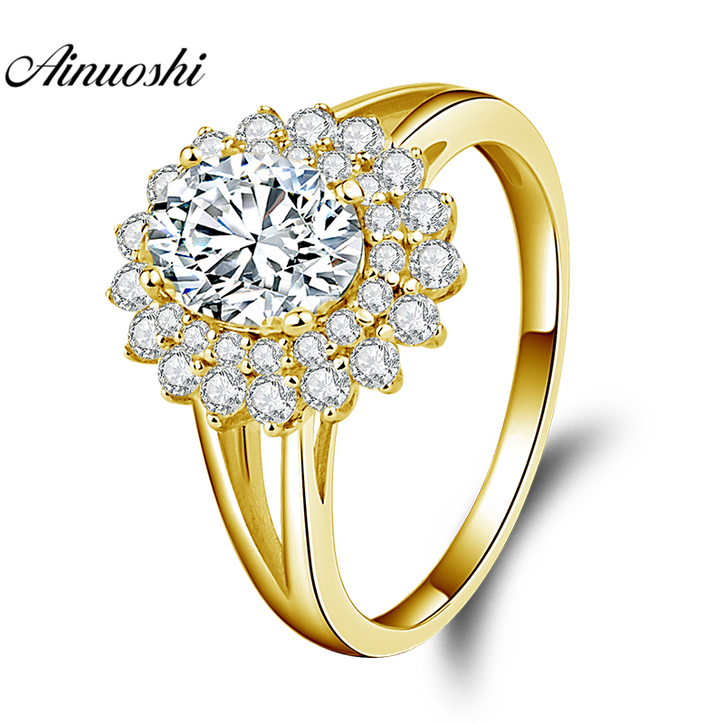 AINUOSHI 10K Solid Yellow Gold Double Halo Ring 1.25ct Oval Cut SONA Diamond Ring Luxury Wedding Engagement Jewelry Women Ring