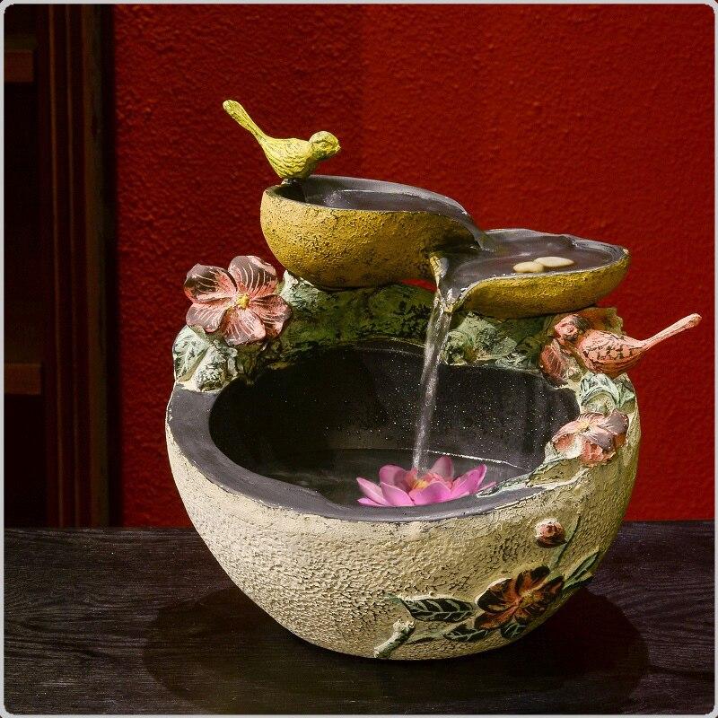 Décor à la maison chinois chanceux ornements réservoir de poisson eau caractéristiques atomisation humidificateur bonsaï feng shui fontaine d'eau âme soeur