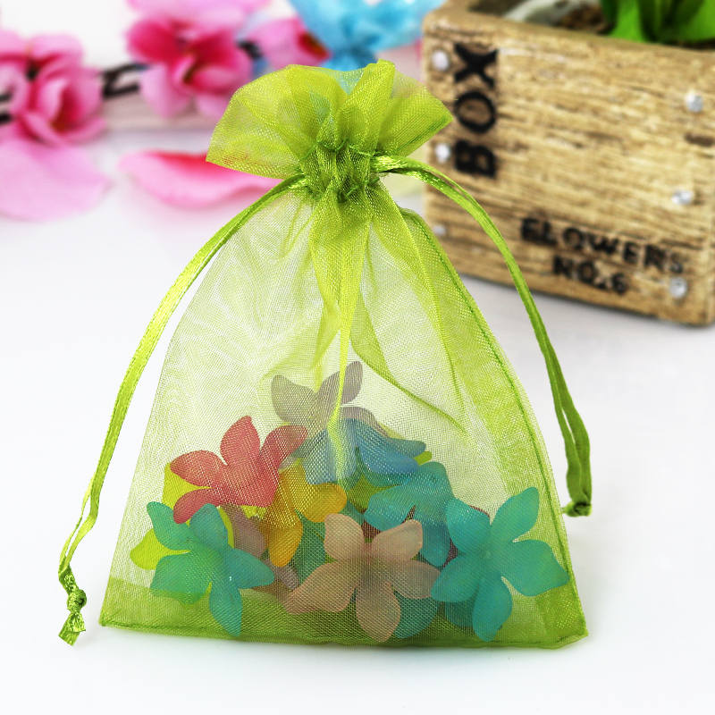 Army Green Packaging Pouches 100pcs/lot 7x9cm Drawstring Organza Bags For Jewelry Beads Candy Gifts Bracelet Storage Pouches