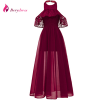Berydress Sexy Halter Neck Burgundy Lace Party Dress Butterfly Sleeve Chiffon A line Vestidos Wedding Party Autumn Maxi Dresses