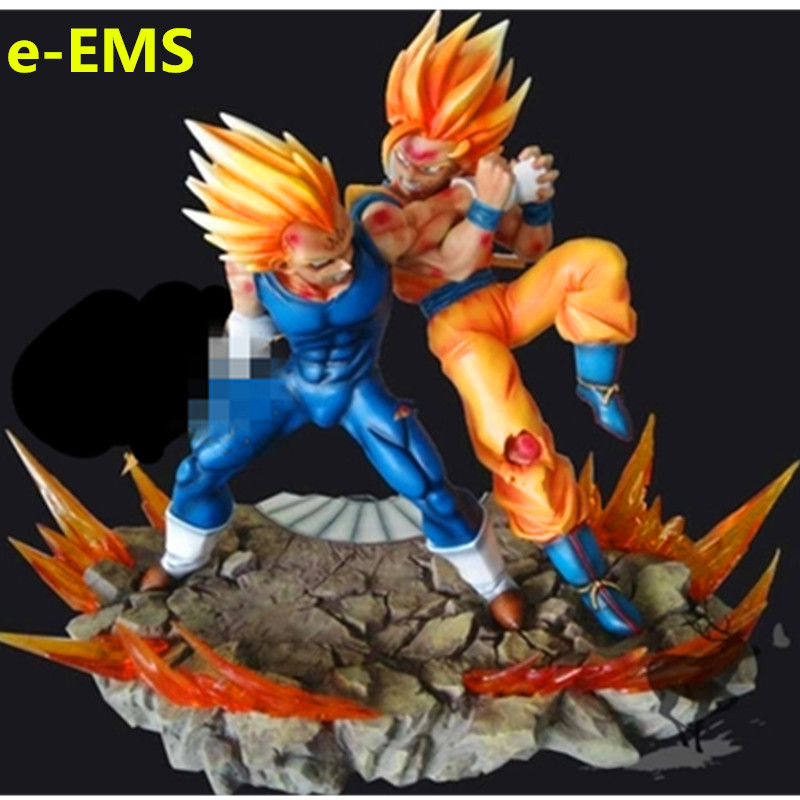 Dragon Ball Z Super Saiyan Goku VS PDHc Guerrier Vegeta GK Sculptures En Résine Ameublement Articles G1685