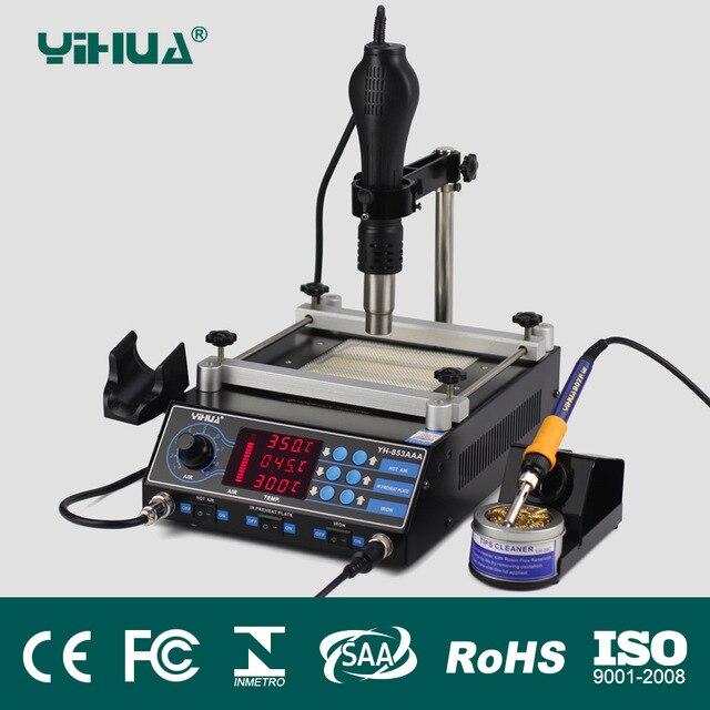 YIHUA 853AAA 650 Вт паяльная станция с регулируемым горячим воздухом кронштейн высокой мощности паяльная станция
