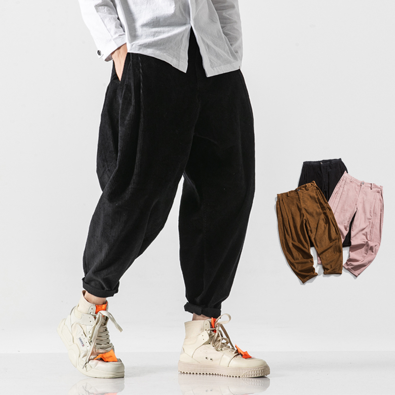 Winter New Corduroy Pants Men Warm Fashion Solid Color Casual Trousers Man Streetwear Wild Hip Hop Loose Harem Pants M-5XL