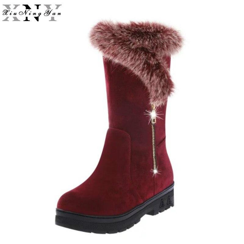 XiuNingYan Women Height Increasing Mid Calf Snow Boots Women Zipper Fashion Shoes Women Thick Fur Warm Winter Botas Size 35-40