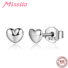 MISSITA 925 Sterling Silver Pure Heart Earrings for Women Jewelry Brand Wedding Stud Rose Gold HOT SELL Gift