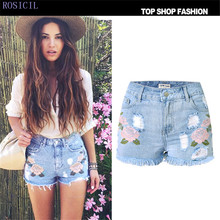 ROSICIL  embroidered shorts jeans women Vintage ethnic style Slim high waist shorts casual boho Blue denim for feminine TSL068
