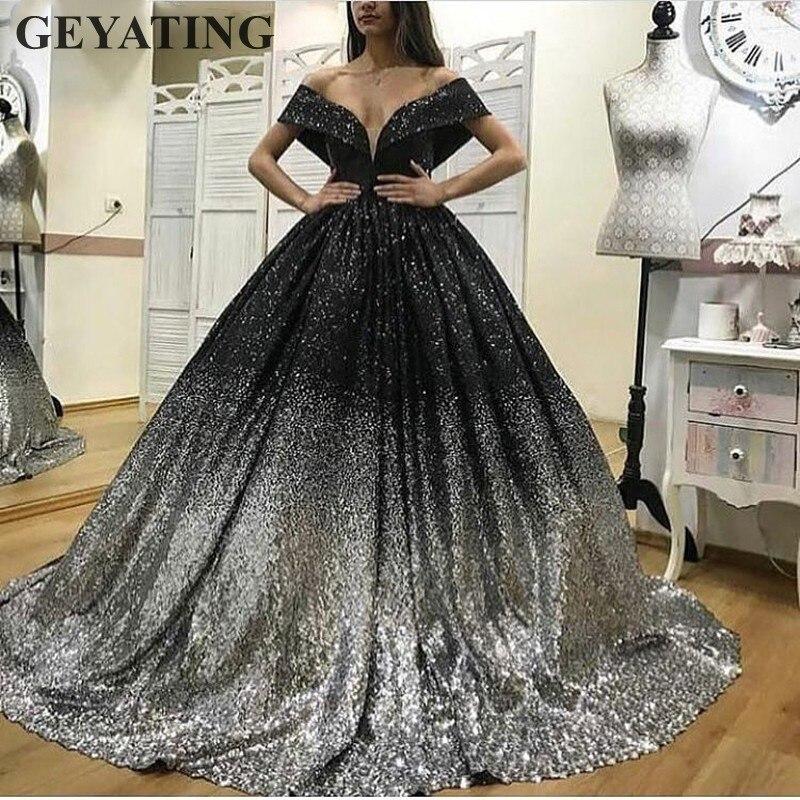 Блеск вечернее платье с пайетками черный, серебристый цвет Бальные платья 2019 Роскошные Арабский Дубай Длинные сладкий 16 выпускные Vestido de 15