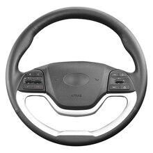 Hand-stitched Black Artificial Leather Car Steering Wheel Cover for Kia Morning 2011-2016 Picanto 2012-2015 hand stitched black leather steering wheel cover for kia forte kia soul kia rio 2009 2011