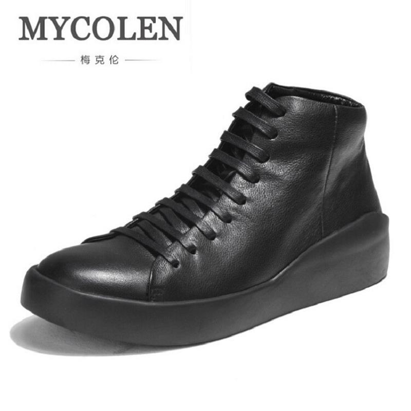 MYCOLEN Autumn And Winter Casual Men Shoes High Quality Lace Up Genuine Leather Shoes Men Black White Sneakers Calzado Hombre simple men s casual shoes with white and lace up design page 5