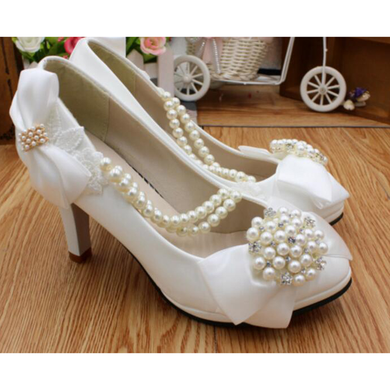 2019 New White High Heel Women Shoes Pumps Plus Size Leather Rhinestone Single Pumps Shallow Opening Wedding Shoes Ankle Shoes in Women 39 s Pumps from Shoes