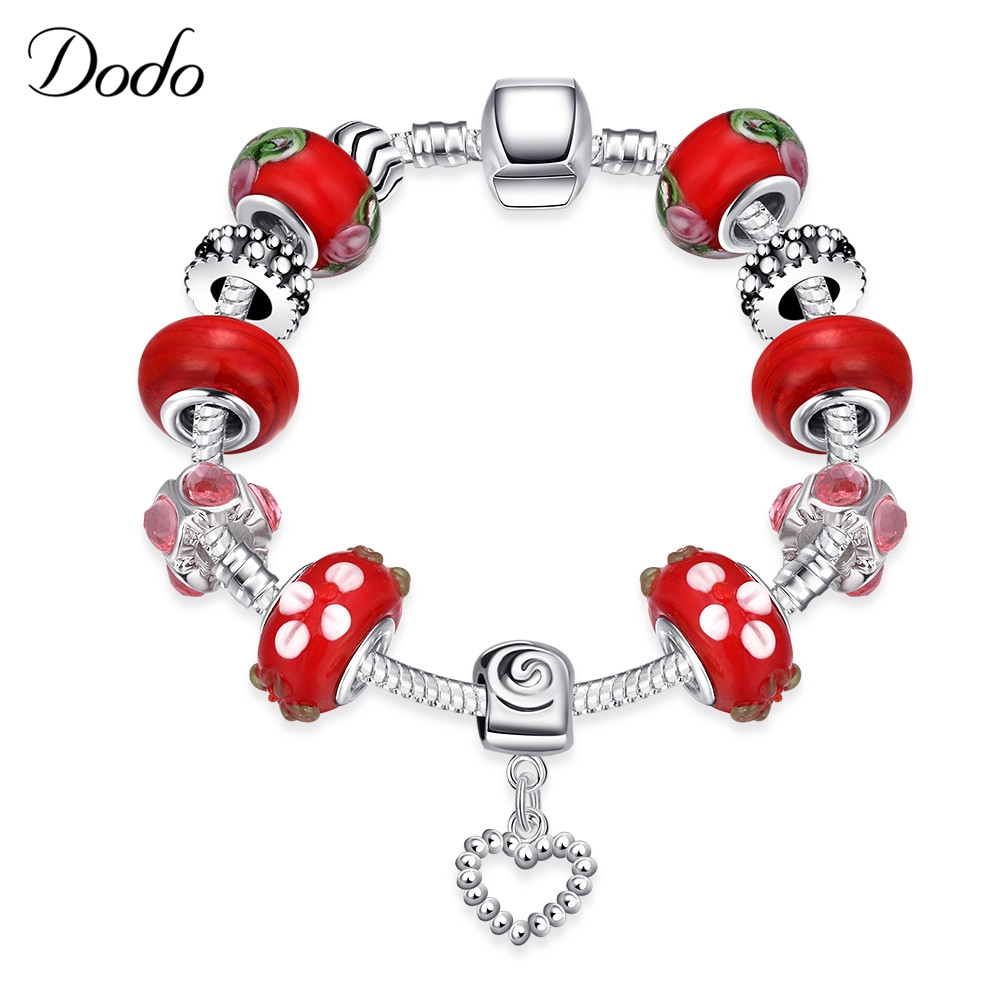 Promotion Antique Bracelet & Bangle Silver Plated Original Women Charm Strawberry With Passionate Red Murano Glass Bead Gift P27