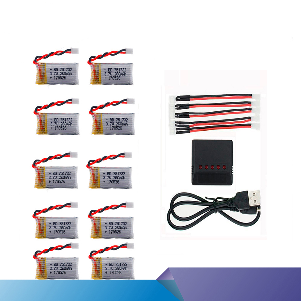 JJRC 10Pcs 3.7V 260mAh 2.0 Connect Lipo Battery With X5 Charger Set for Eachine E010 E012 E013 JJRC H36 Mini RC Quadcopter drone jjrc h36 6 in 1 charger sets 3 7v 150mah 30c for eachine e010 e011 e012 e013 f36 h36 rc quadcopter parts 3 7v h36 lipo battery