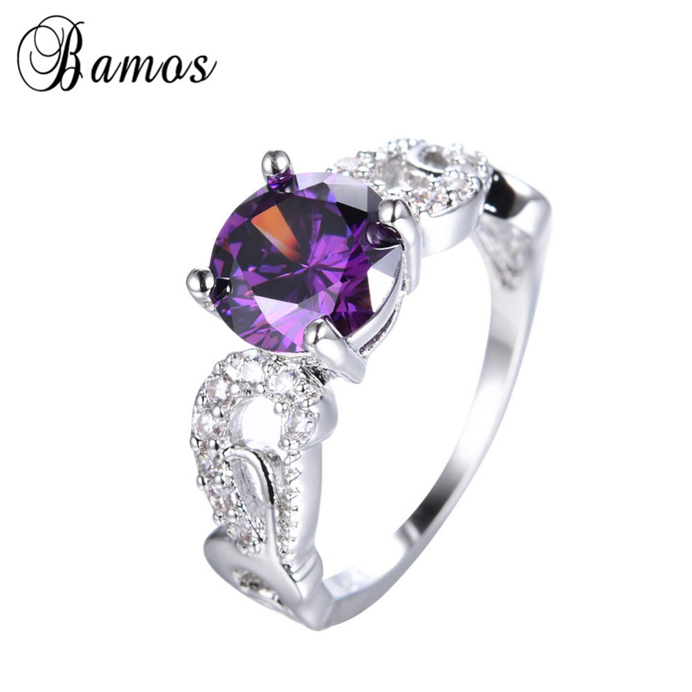 Charming Round Cut Purple Engagement Ring White Gold Filled Women Men  Wedding Party Promise Ring Anel