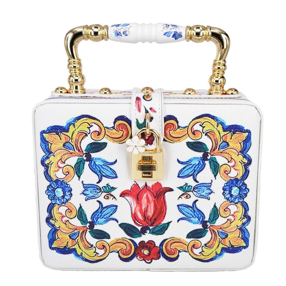 White Flower Fashion Box Shape Women s Mini Tote Bag Printing PU Evening Bag Floral Pattern