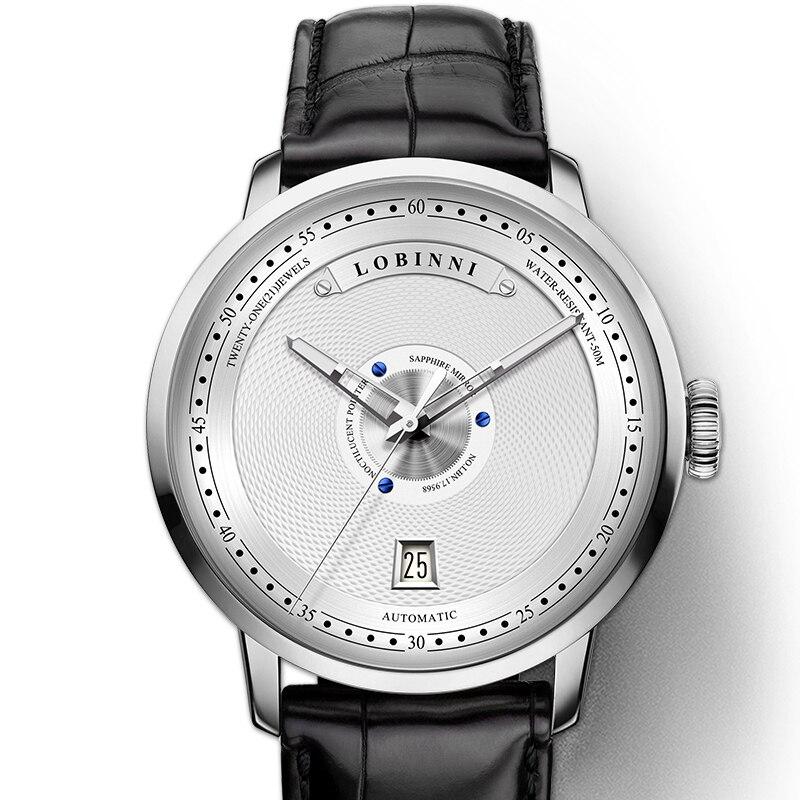جديد سويسرا LOBINNI الرجال ووتش العلامة التجارية الفاخرة ساعة يابانية السيارات الميكانيكية MOVT الرجال الساعات الياقوت جلدية Relogio L16050 1-في الساعات الميكانيكية من ساعات اليد على  مجموعة 1