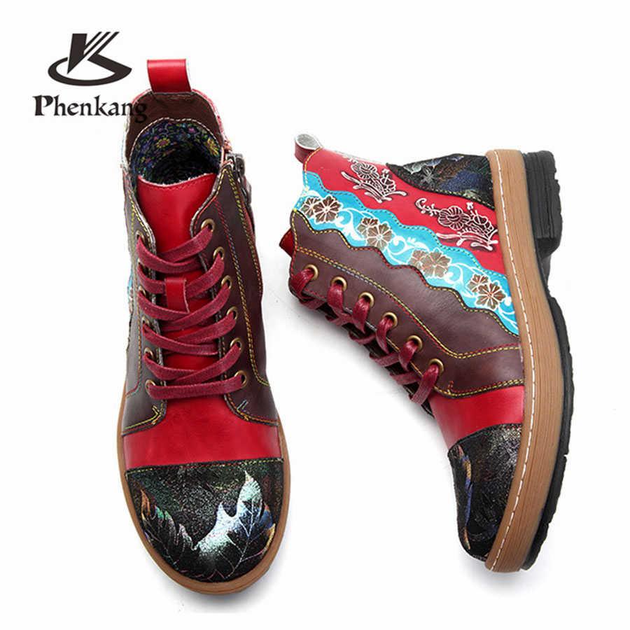Kadın kışlık Botlar Hakiki inek Deri Yüksek topuk Ayak Bileği Rahat kaliteli yumuşak ayakkabı Marka Tasarımcısı El Yapımı kırmızı 2019 bahar