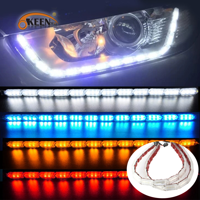 OKEEN 2PCS Flexible <font><b>Headlight</b></font> strip LED DRL Daytime Running Lights Sequential Turn Signal Flowing Style Amber White Red Color image