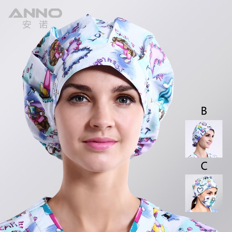 ANNO Beauty Salon Medical Hats Doctor Surgical Scrub Hat For Women Men Adjustable Nurse Cap Medical Hospital Accessories