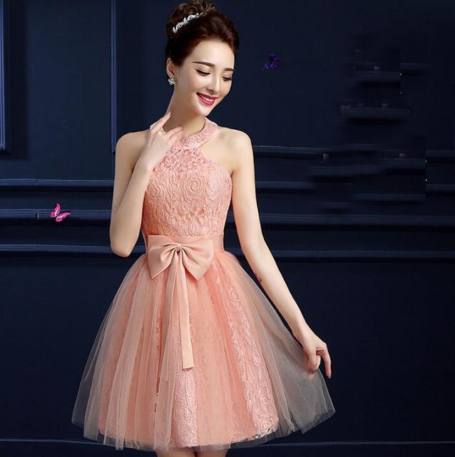 promo code bf544 6b03b US $48.4 |Ragazze modest convenzionale elegante abito di sfera ragazza  abiti corti tulle peach halter prom dress donne di lunghezza del ginocchio  ...