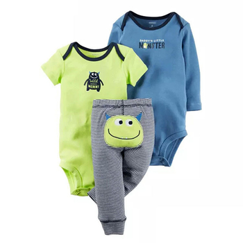 цена на 2020 New Spring 3pcs Baby Boy Clothes Infant Cartoon Cotton Rompers and Pants Trousers Set Newborn Toddlers Baby Girl Clothing