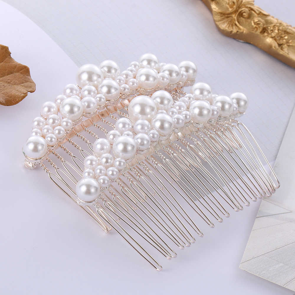 2019 New Fashion Women Pearl Hair Combs Wedding Hair Accessories Hair Pin Rhinestone Tiara Bridal Clips Bride Hair Jewelry