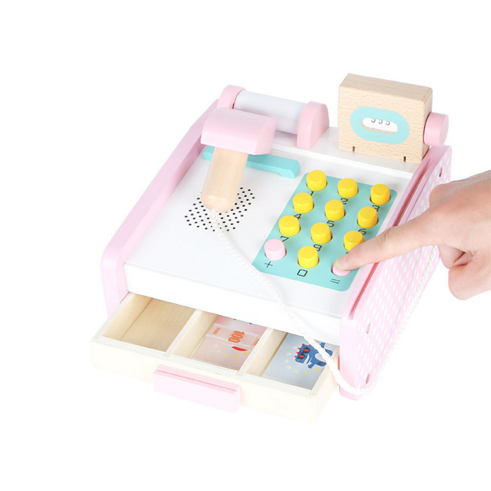 Pink Wooden Children Educational Toys Simulation Cash Register Registradora Shopping Desk Pretend Play Toy For Children Gift