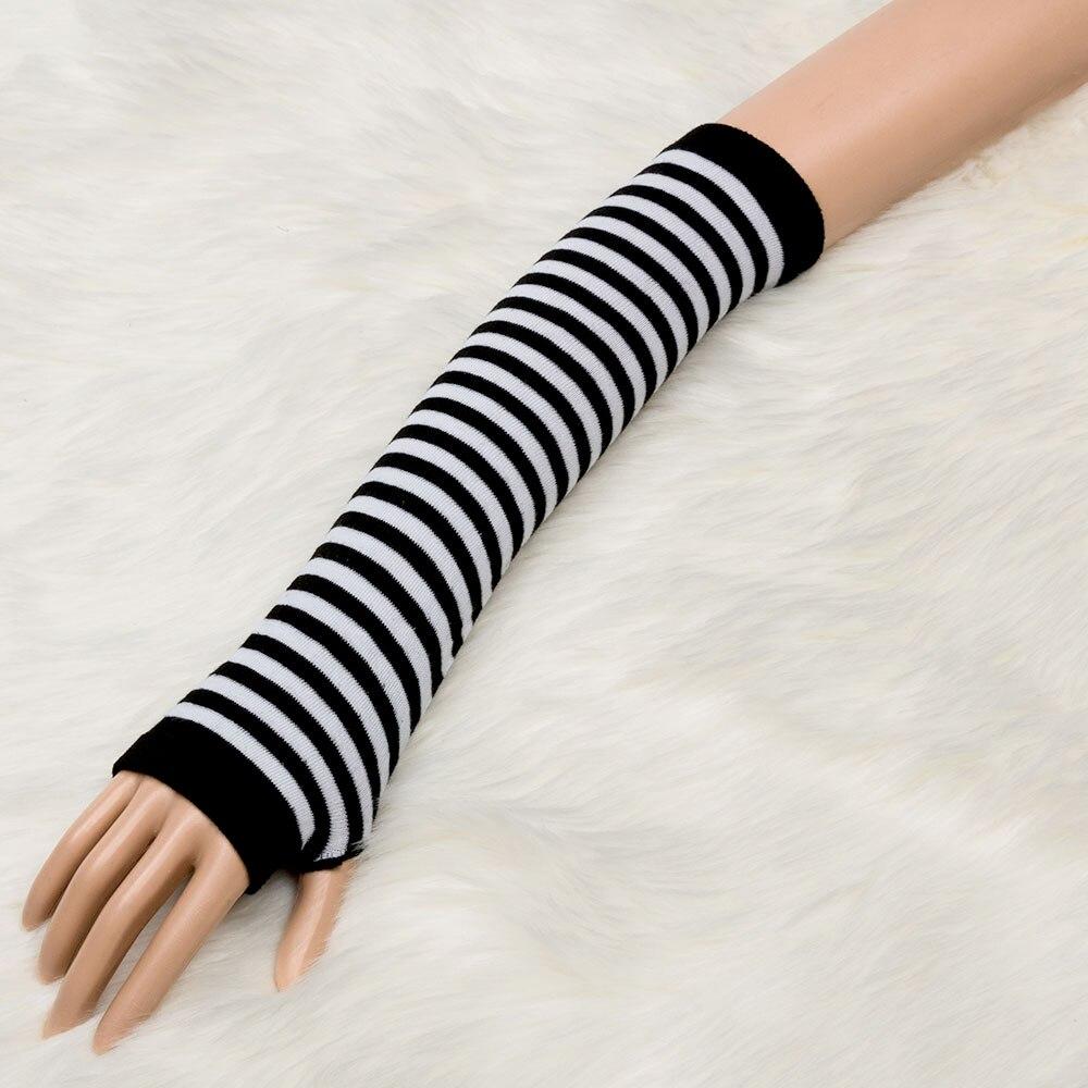 1 Para Mode Winter Arm Wärmer Frauen Warme Handschuhe Finger Schwarz & Grau Schwarz & Weiß Gestrickte Lange Handschuhe Baumwolle Länge Armstulpen Damen-accessoires 35 Cm