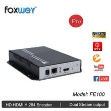 Mini HD 1080 P IPTV encoder HDMI H.264 kopf ende, 60fps energiesparlösung für live-streaming IPTV rundfunk FOXWEY