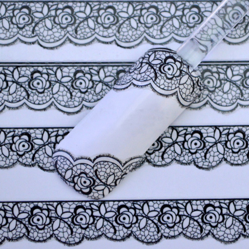 1pcs 2017 New Water Transfer Nail Art Stickers Decal Luxury Black Lace Flowers Design DIY French Manicure Foils Stamp Tools 4 packs lot full cover white french smile lace tattoos sticker water decal nail art d363 366w