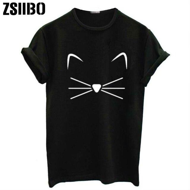 95f4eeb90 ZSIIBO Black T Shirt Women Tops Punk Cartoon Cat Face Letter Print Tee Shirt  Femme T-shirt Casual Tee Shirt O-neck Rock Tops