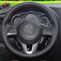 Black Leather Hand-stitched Car Steering Wheel Cover for Mazda CX-5 CX5 Atenza 2014 New Mazda 3 CX-3 2016 Scion iA 2016