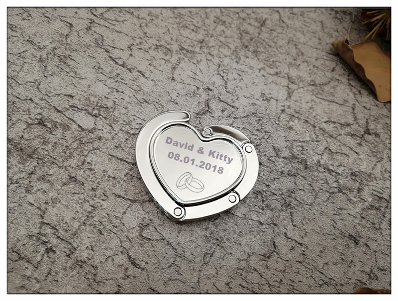 100Pcs Customized Wedding Party Gift For Guests,Silver Round Purse Hook Bag Hanger Favor,Personalized Birthday Party Favor gifts