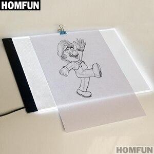 """Image 2 - HOMFUN Ultrathin 3.5 מ""""מ A4 LED אור לוח כרית להחיל כדי האיחוד האירופי/בריטניה/AU/ארה""""ב/USB תקע יהלומי רקמת יהלומי ציור צלב תפר"""