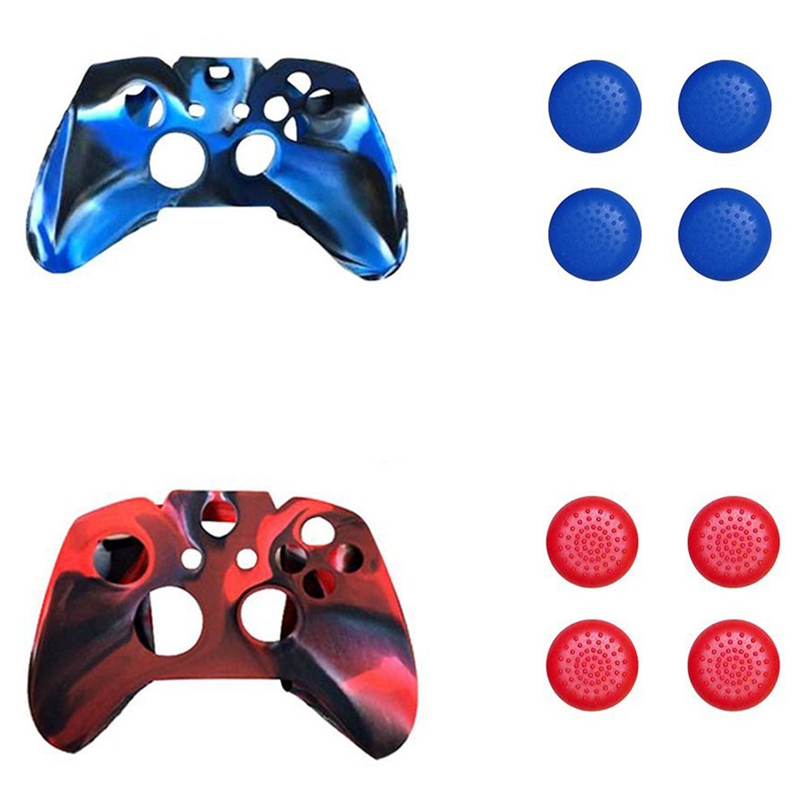 3 In 1 Glow In Dark Controller Protective Case For Microsoft Xbox One With 4 Anti-slip Caps Blue+black+white For Fast Shipping