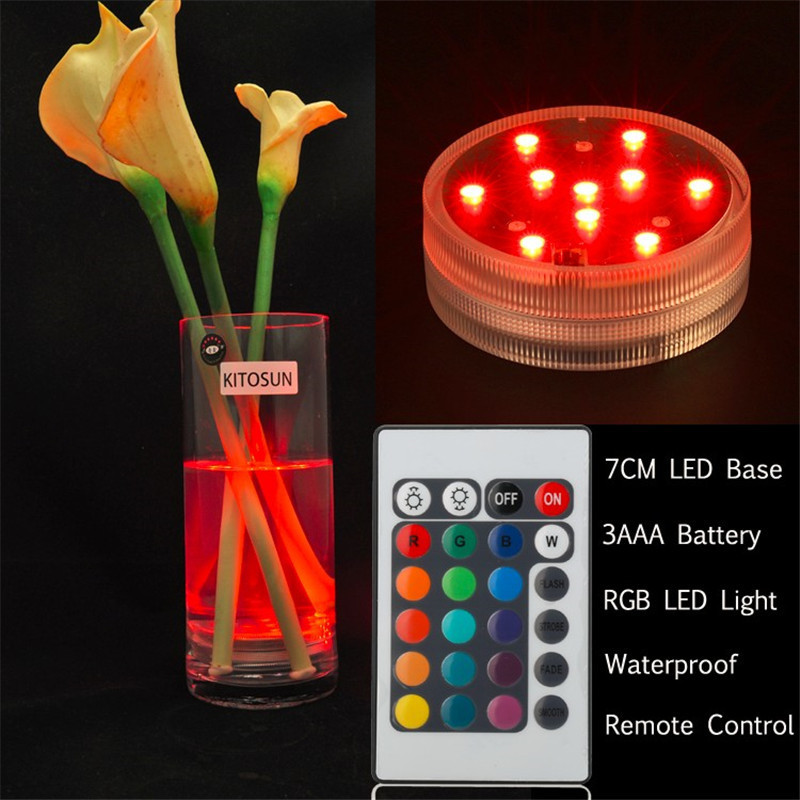 10 LED Submersible Candle Lamp Remote Control Multicolor Floral Vase Base Waterproof Light Wedding Birthday Party Decoration